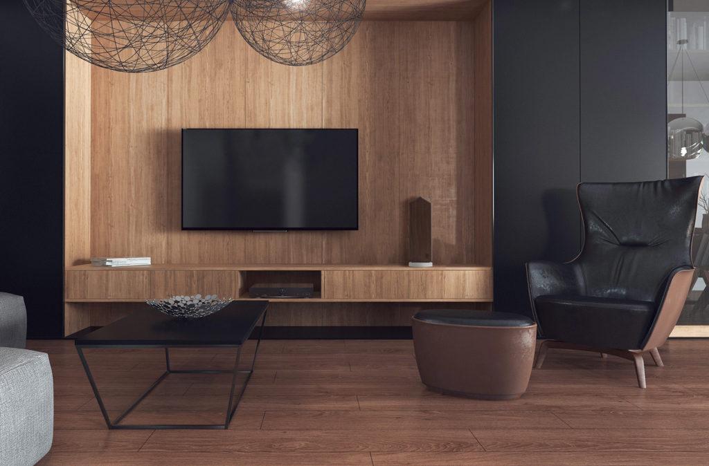 黒やブラウンが基調の空間にも良く合うウオールナットの神棚。